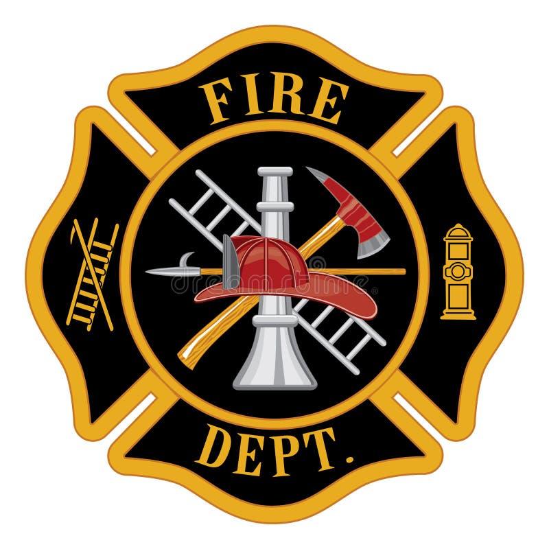 Cruz maltesa del cuerpo de bomberos stock de ilustración
