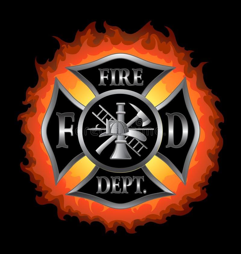 Cruz maltesa do departamento dos bombeiros com flamas ilustração stock