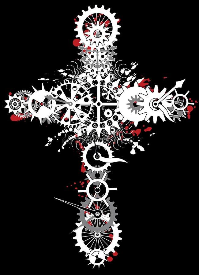 Cruz mecânica da religião ilustração stock