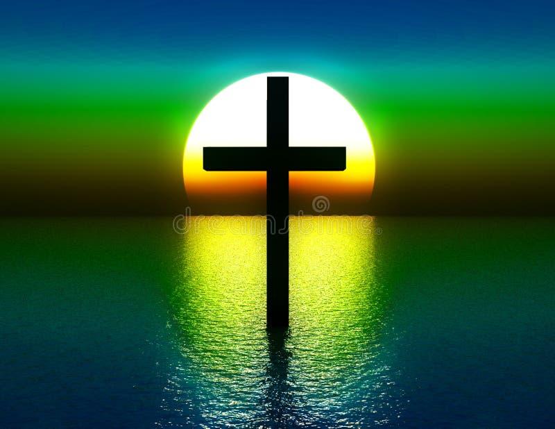 A cruz na água no nascer do sol 4 ilustração royalty free