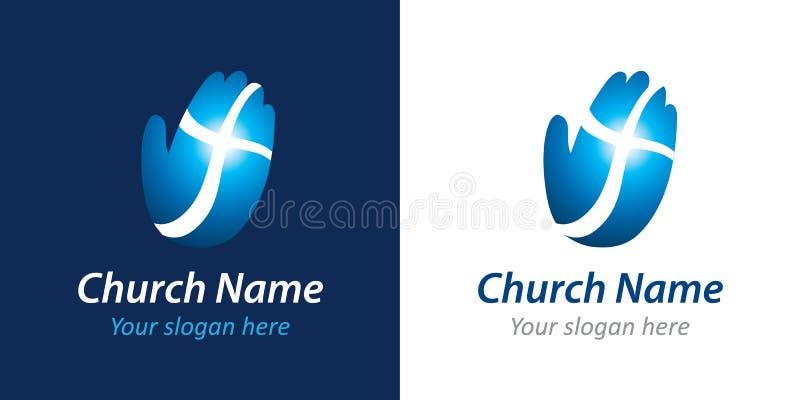 Cruz no logotipo da igreja da mão ilustração royalty free