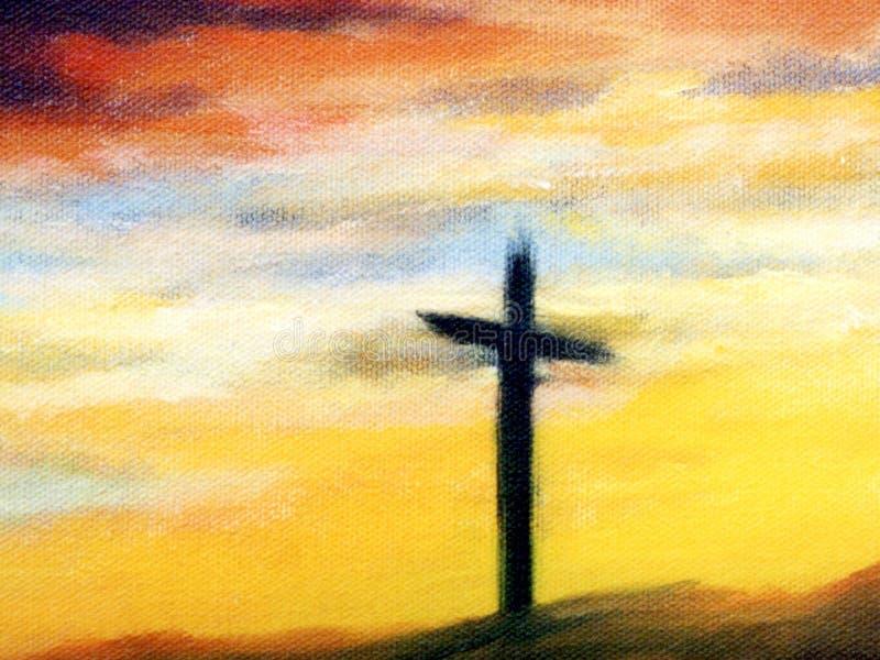 Cruz no nascer do sol ilustração do vetor