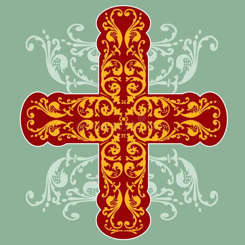 Cruz ornamentado floral ilustração royalty free
