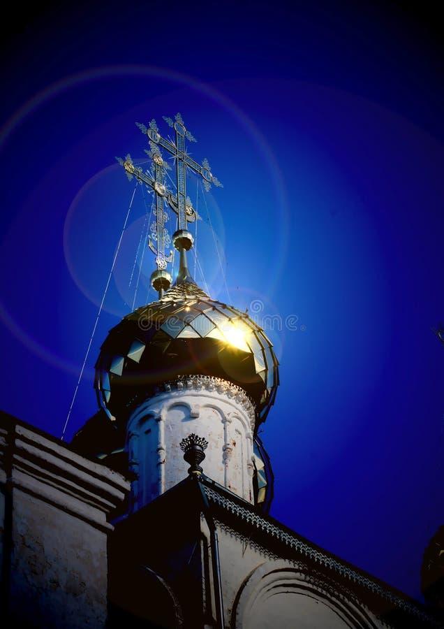 Cruz ortodoxo na abóbada da catedral do aviso foto de stock royalty free