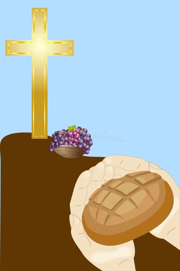Cruz, pão e uva cristãos ilustração do vetor
