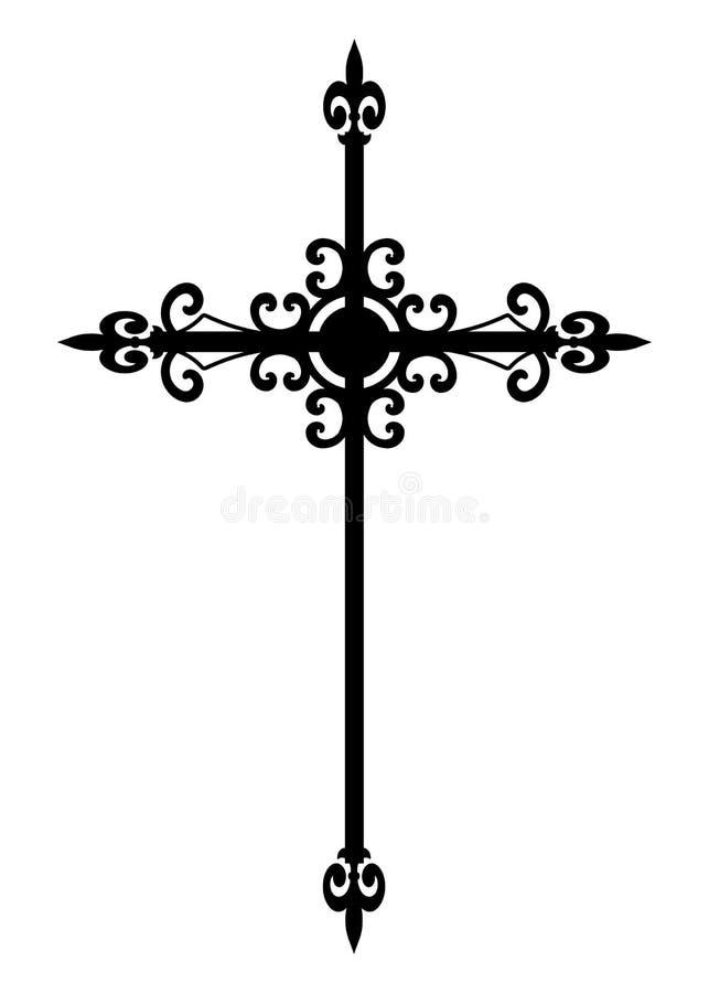 Cruz preta gótico isolada ilustração do vetor