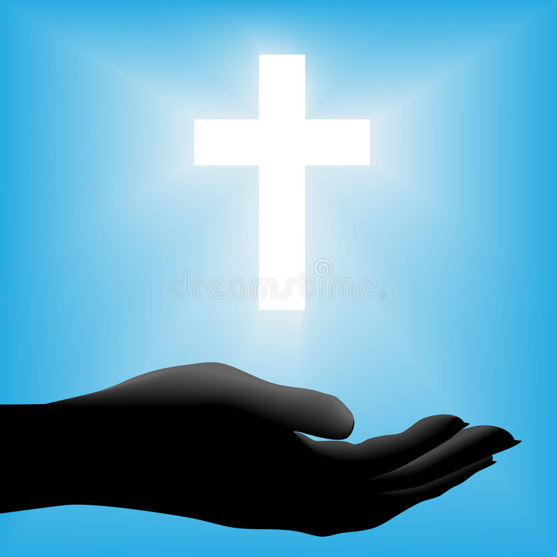 Cruz radiante de mano de la silueta hacia fuera stock de ilustración