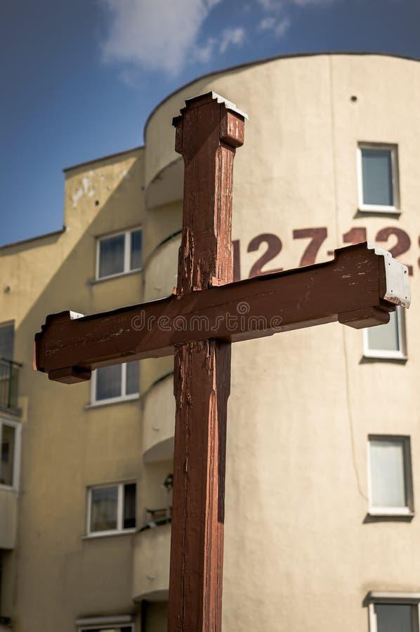 Cruz religiosa de madera fotografía de archivo