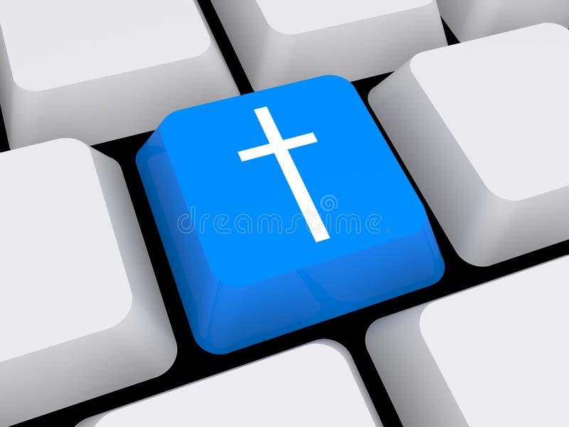 Cruz religiosa en el teclado imagen de archivo