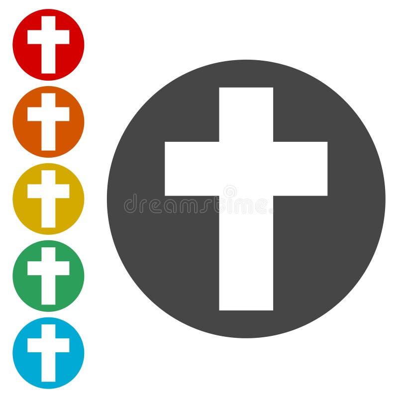Cruz religiosa, sistema cristiano de los iconos de la muestra ilustración del vector