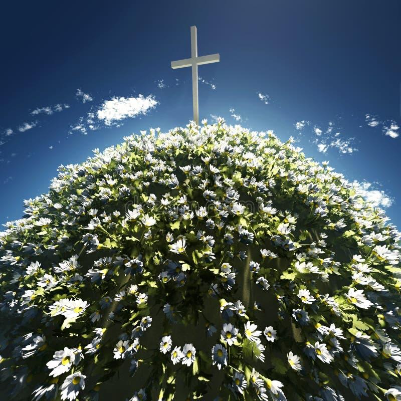 Cruz rodeada por las flores libre illustration