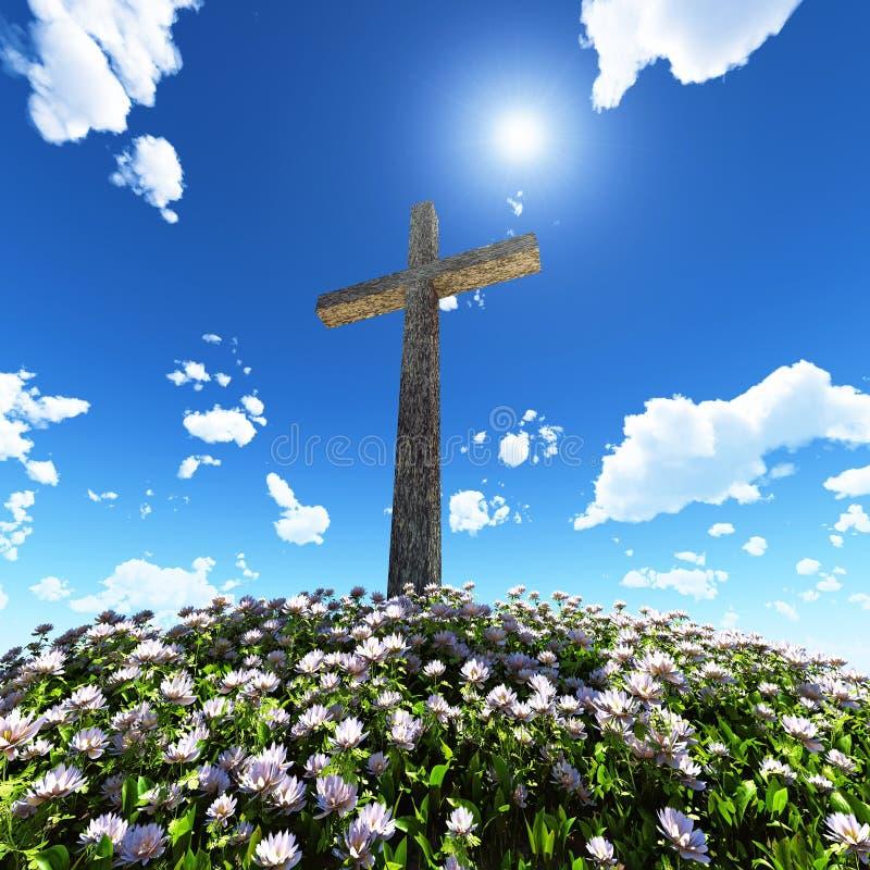 Cruz rodeada por las flores stock de ilustración