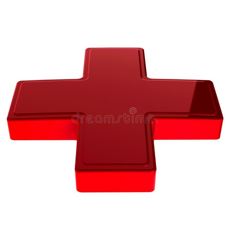 Cruz Roja brillante 3d imágenes de archivo libres de regalías