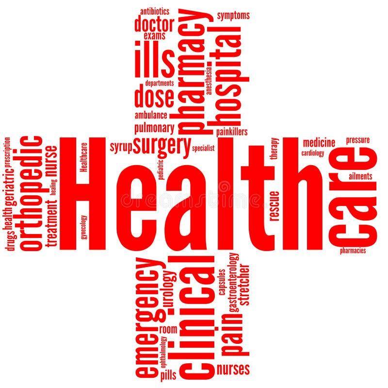 Cruz Roja - etiqueta de la salud y del bienestar o nube de la palabra ilustración del vector