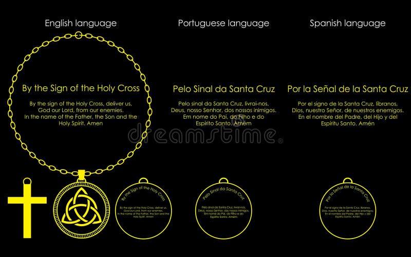 Cruz santa del rezo stock de ilustración
