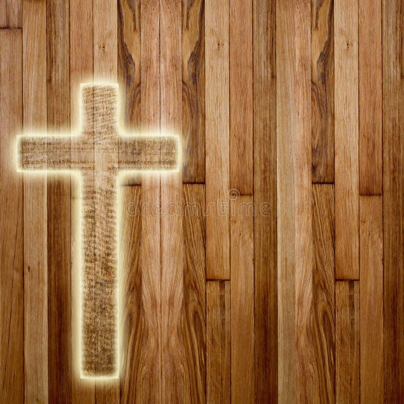 Cruz santamente no fundo de madeira abstrato ilustração do vetor