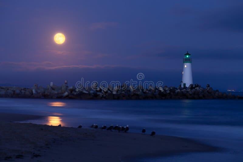 cruz schronienia latarni morskiej noc Santa zdjęcie stock