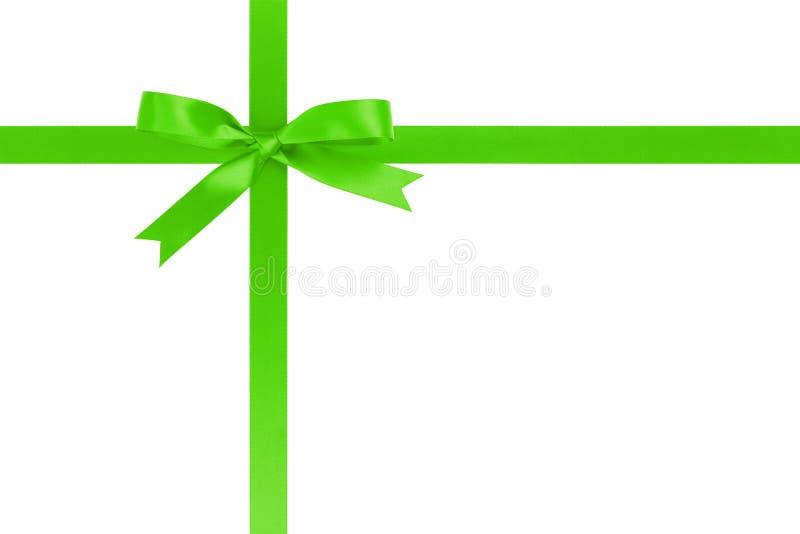 Cruz verde de la cinta con el arco para empaquetar con imagen de archivo libre de regalías