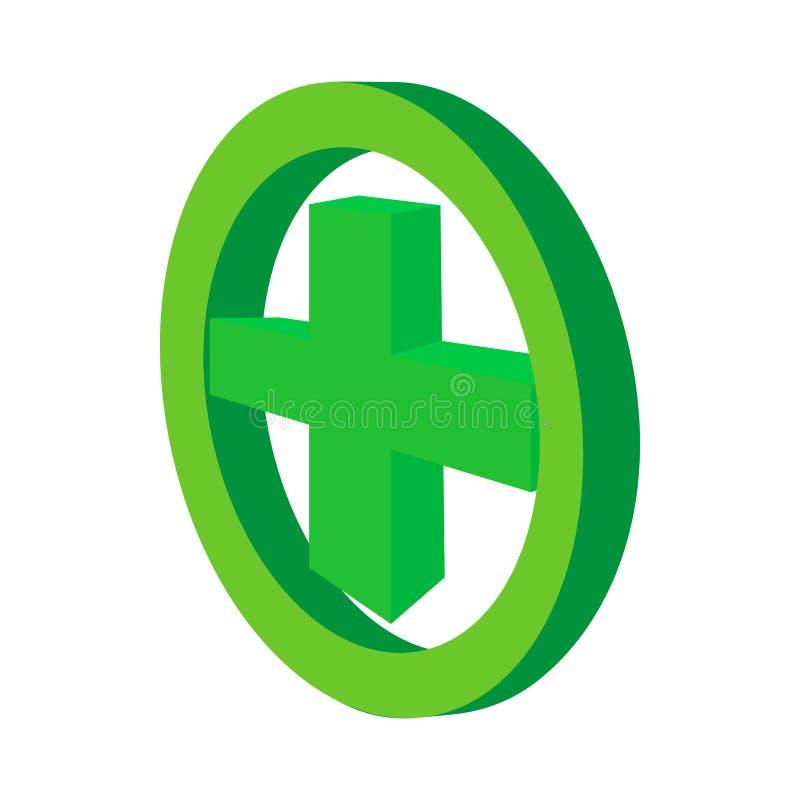 Cruz verde no ícone do círculo, estilo dos desenhos animados ilustração do vetor