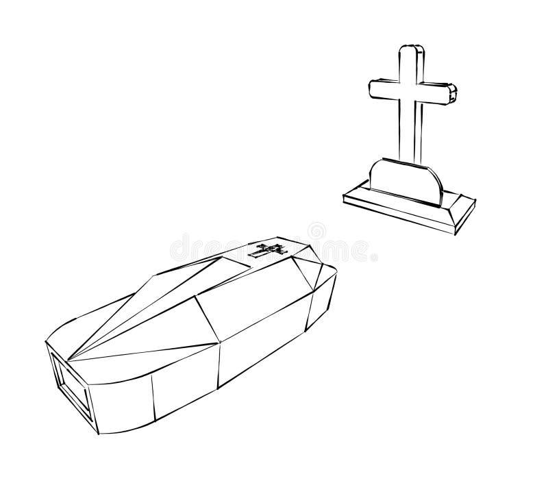 Cruz y ataúd stock de ilustración