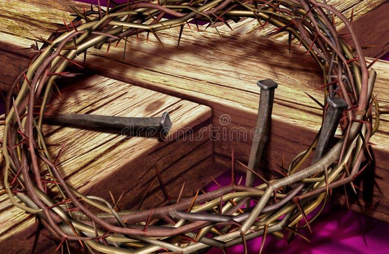 Cruz y corona imagen de archivo libre de regalías