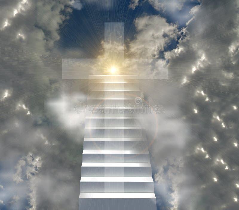 Cruz y escalera cristianas a los haces del sunsnsine del sol del cielo fotografía de archivo