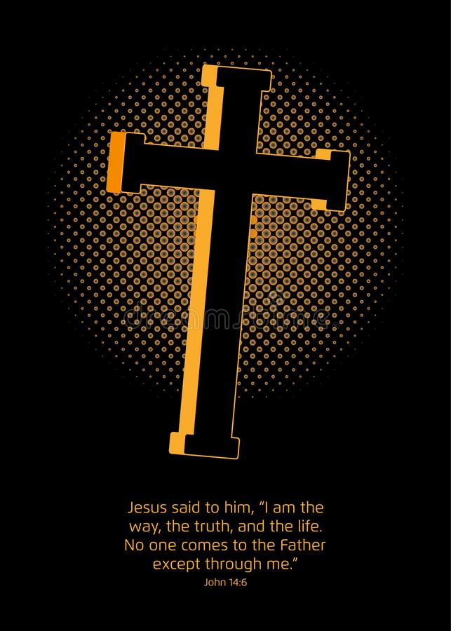 Cruz y evangelio stock de ilustración