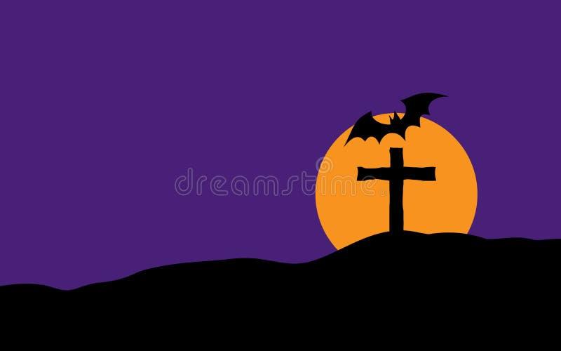 Cruz y palo graves espeluznantes de Halloween en plano y silhouet de moda stock de ilustración