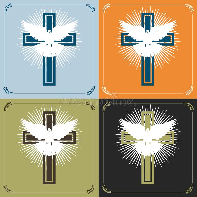 Cruz y paloma ilustración del vector