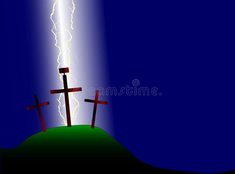 Cruz y relámpago de Pascua stock de ilustración
