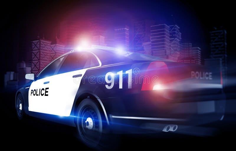 Cruzador da polícia na precipitação ilustração stock