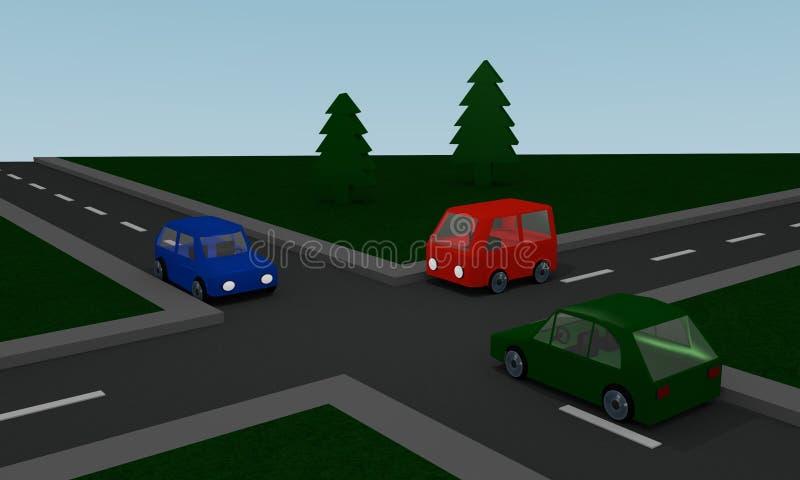 Cruzamento com carros coloridos ilustração do vetor