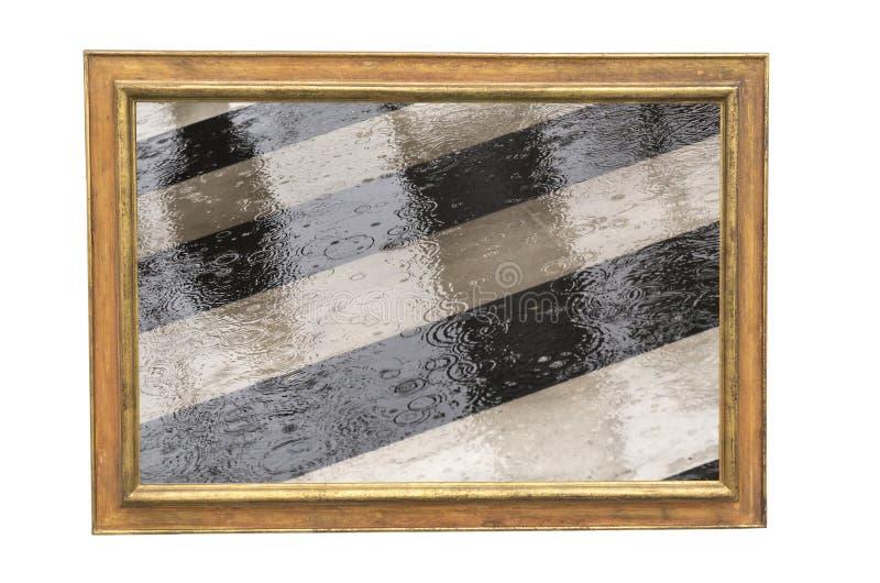 Cruzamento da rua na imagem do dia chuvoso quadro ilustração stock