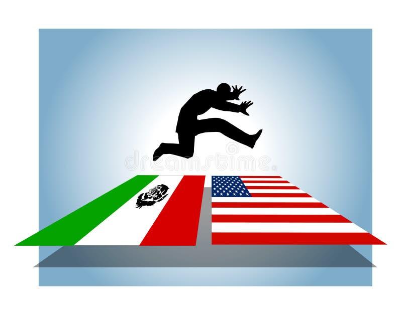 Cruzamento de beira aberto da imigração ilegal ilustração royalty free