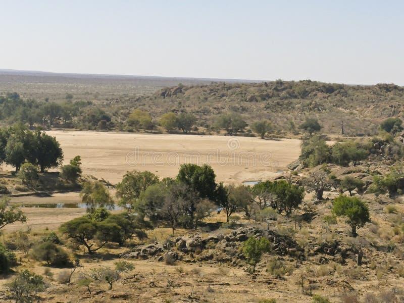 Cruzamento de rio de Limpopo a paisagem do deserto da nação de Mapungubwe fotografia de stock