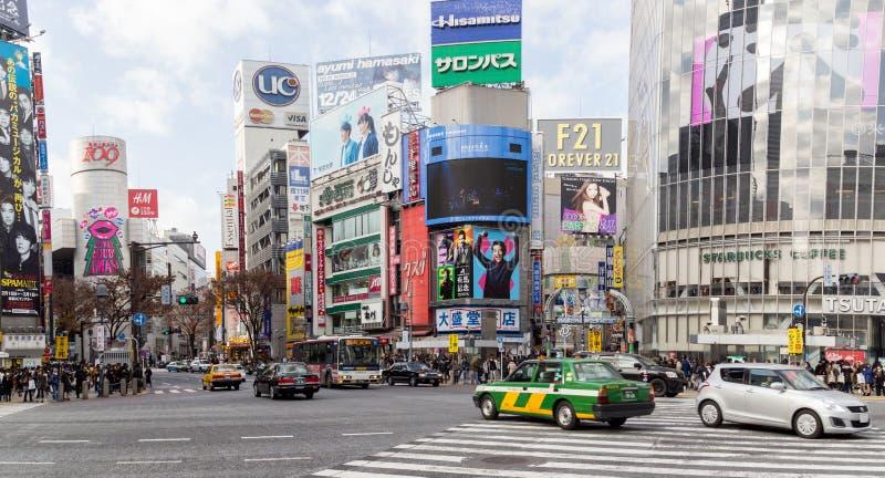 Cruzamento famoso de Shibuya no Tóquio, Japão imagem de stock royalty free