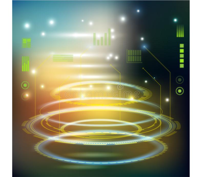 Cruzamento futurista Sci-fi interface de usuário HUD Contexto tecnológico Conceito de tela de destino high tech para espaçamento ilustração do vetor