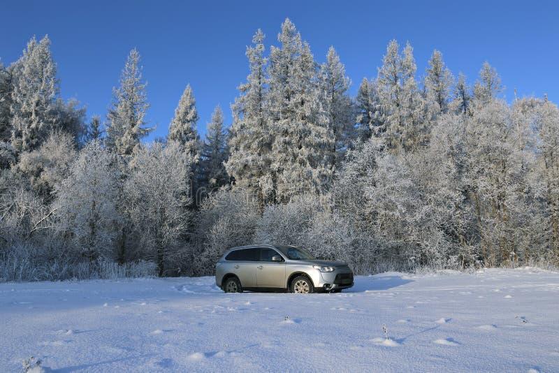 Cruzamento moderno com afastamento alto ao campo coberto de neve imagem de stock royalty free