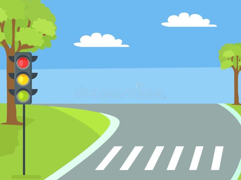 Cruzamento pedestre com sinal e estrada ilustração stock