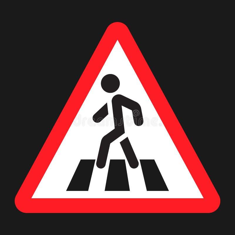 Cruzamento pedestre e ícone liso do sinal da faixa de travessia ilustração stock