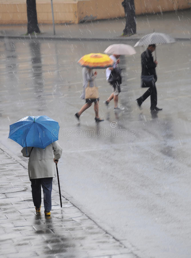 Cruzando a estrada em um dia chuvoso fotografia de stock