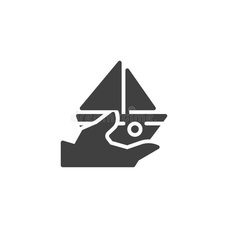 Cruzeiro, ícone do vetor do seguro do navio ilustração stock