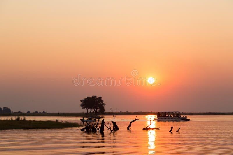 Cruzeiro do barco em Botswana fotografia de stock
