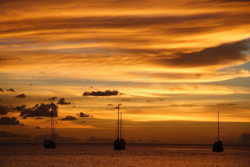 Cruzeiro do Cararibe dourado do por do sol fotografia de stock