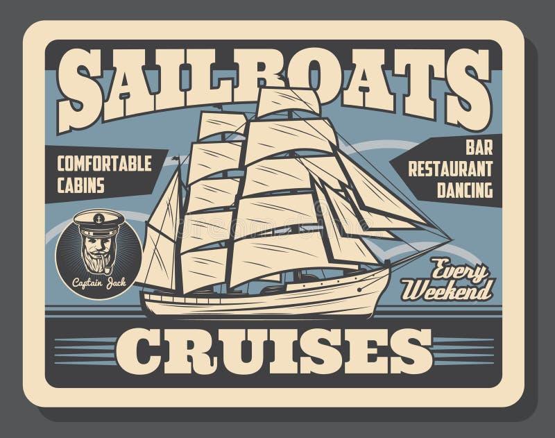 Cruzeiro do navio da vela e curso marinho, vetor ilustração royalty free