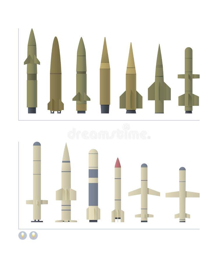 cruzeiro e mísseis balísticos no branco ilustração do vetor
