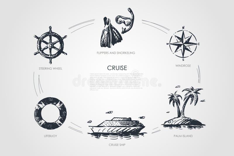 Cruzeiro - volante, boia salva-vidas, navio de cruzeiros, ilha de palma, windrose, aletas e mergulhar o grupo do conceito do veto ilustração royalty free
