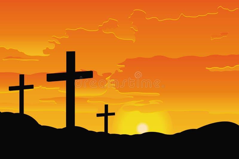 Cruzes bíblicas no monte no por do sol ilustração royalty free