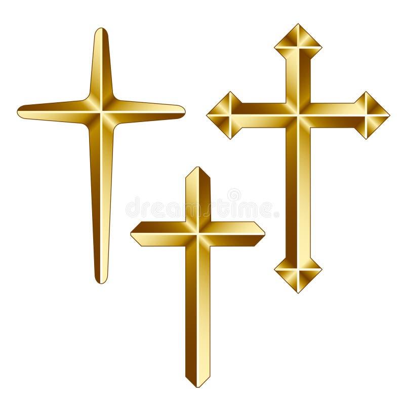 Cruzes cristãs douradas ilustração royalty free