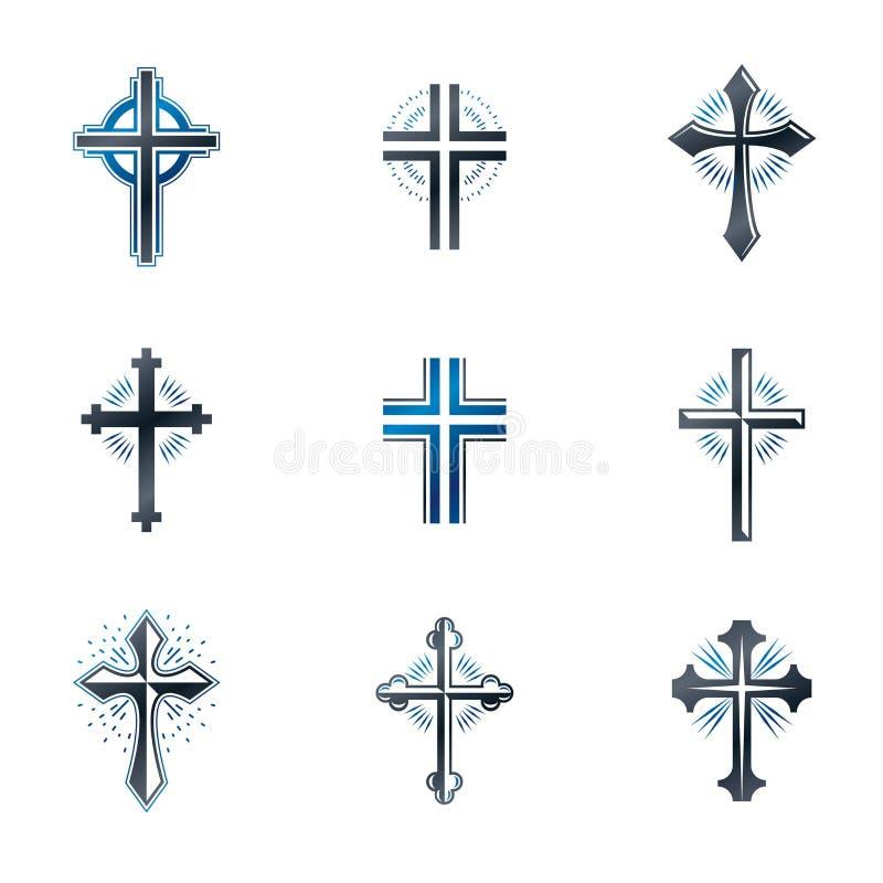Cruzes dos emblemas da cristandade ajustados Elem heráldico do projeto do vetor ilustração do vetor